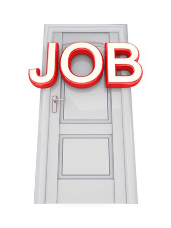 White door with a red word JOB. 3d rendered. Isolated on white background. photo