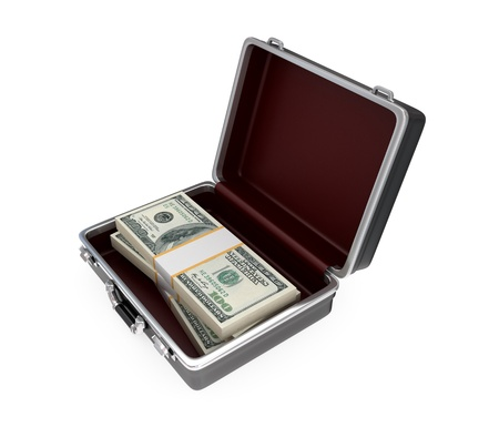 Opened suitacase and large dollars pack inside. Isolated on white background. photo