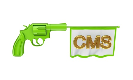 Green revolver and white flag with golden word CMS. Isolated on white background. Stock Photo - 12219454