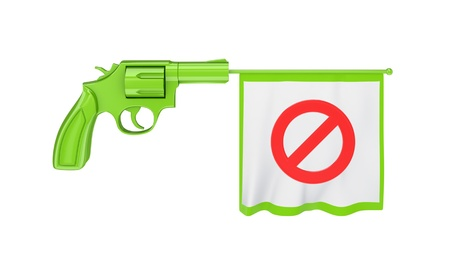 Revolver shooting a white bunner with red stop sign.Isolated on white background.3d rendered. photo