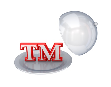 Red trademark symbol on a dish.Isolated on white background. 3d rendered.