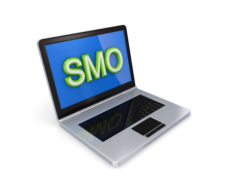 smo: Modern notebook with a big word SMO on a screen.Isolated on white background. 3d rendered.