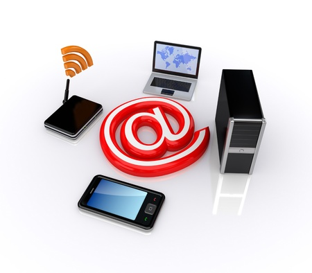 Cellphone,notebook,router,PC and email symbol.Isolated on white background.3d rendered. photo