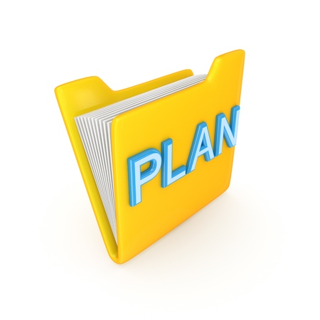 Yellow PC folder with a blue inscription PLAN.Isolated on white background.3d rendered. photo