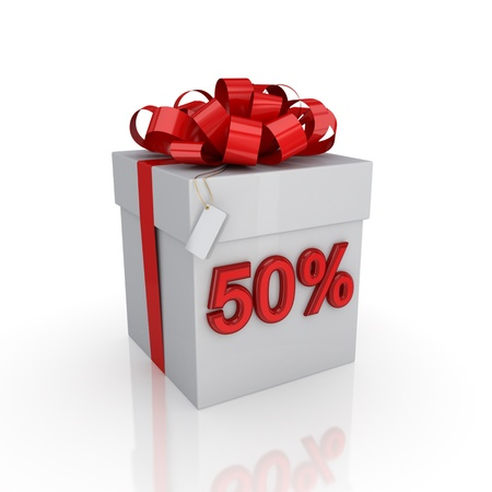 christmas profits: Gift box with a signature 50%.Isolated on white background. 3d rendered.
