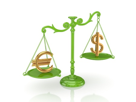 Golden dollar and euro signs on s green scales.Isolated on white background.3d rendered. Stock Photo - 12222713