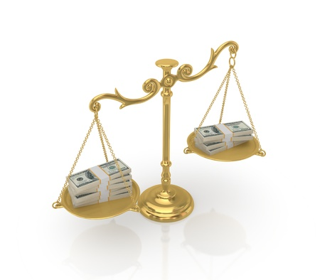 balanza en equilibrio: Los paquetes de dinero en una antig�edad de oro sobre fondo blanco scales.Isolated background.3d prestados.