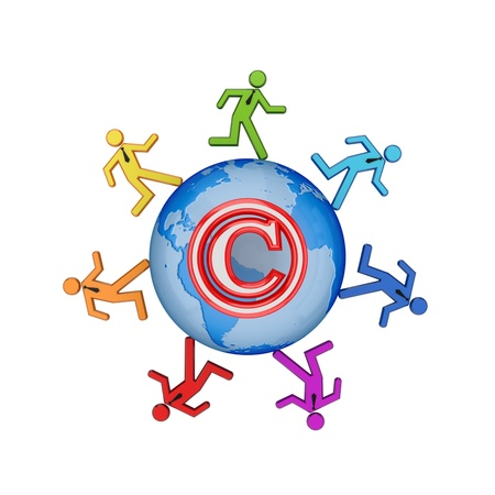 authorship: Copyright concept. Isolated on white background.3d rendered. Stock Photo