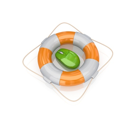 Green PC mouse in a lifebuoy.3d rendered.Isolated on white background. Stock Photo - 12222861
