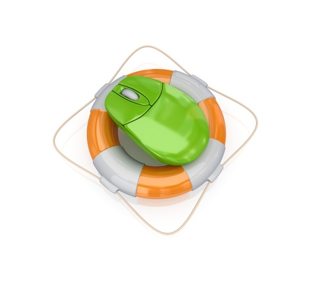 Green PC mouse in a lifebuoy.3d rendered.Isolated on white background. Stock Photo - 12222852