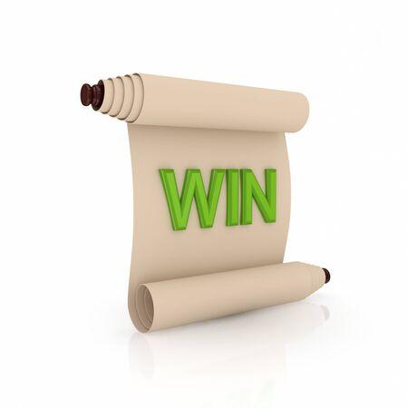edicto: Antiguo pergamino con una palabra de color verde sobre fondo blanco WIN.Isolated background.3d prestados.