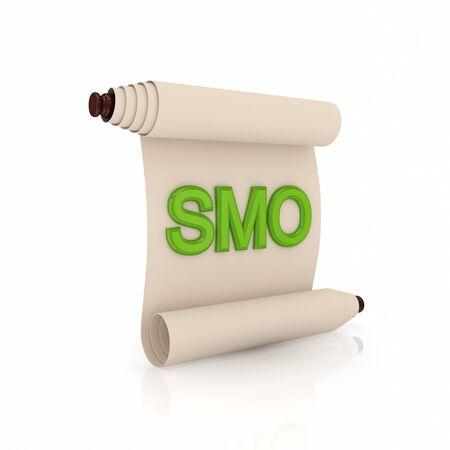 edicto: Antiguo pergamino con una palabra de color verde sobre fondo blanco SMO.Isolated background.3d prestados.