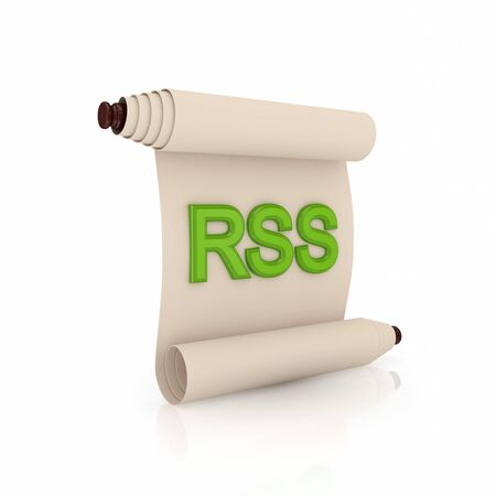 Ancient scroll with a green word RSS.Isolated on white background.3d rendered. photo