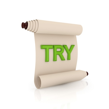 edicto: Antiguo pergamino con una palabra de color verde sobre fondo blanco TRY.Isolated background.3d prestados.