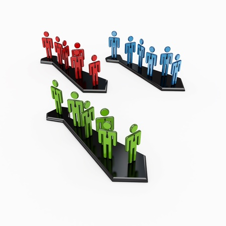 group direction: 3d small people standing on a black arrows stylized as a cravat.Isolated on white background. Stock Photo