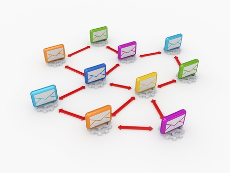 arow: Business network concept.Isolated on white background.3d rendered.