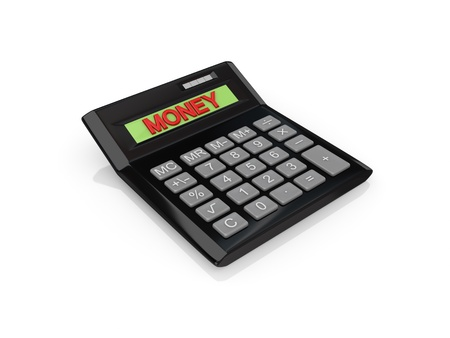 diversified: Big calc with a word MONEY on a screen.Isolated on white background.3d rendered.