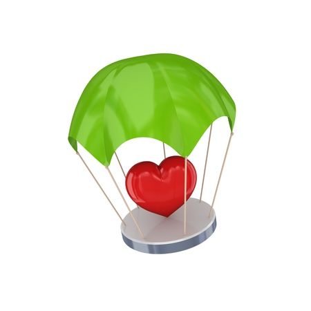 Red heart at green parachute.Isolated on white background.3d rendered. photo
