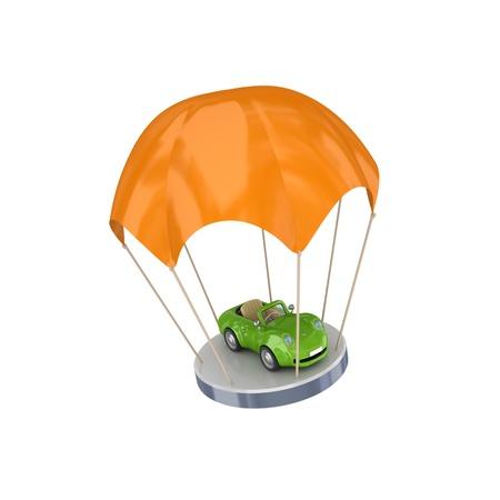 property insurance: Coche verde en naranja sobre fondo blanco parachute.Isolated background.3d prestados.