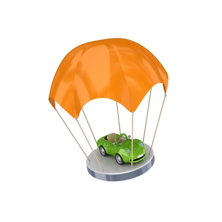 parachutesprong: Groene auto bij Orange parachute.Isolated op wit background.3d weergegeven. Stockfoto