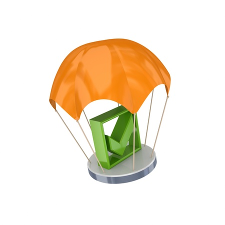 Green tick mark at orange parachute.Isolated on white background.3d rendered. photo