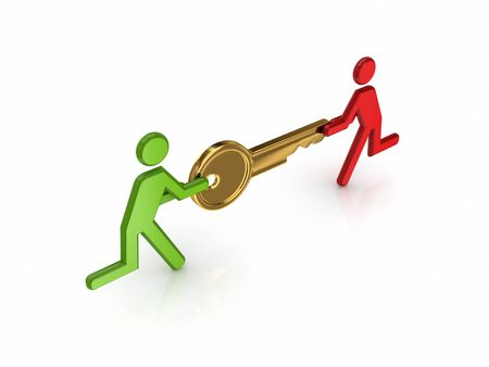 3d small people with golden key in a hands.Isolated on white background. photo