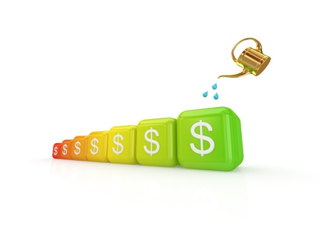 investment goals: Earnings growth concept.Isolated on white background.3d rendered.