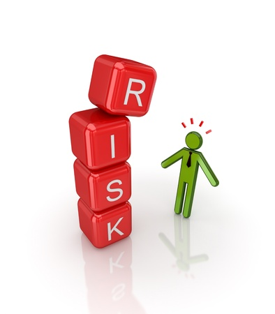 savings risk: Risk concept. Isolated on white background.3d rendered.