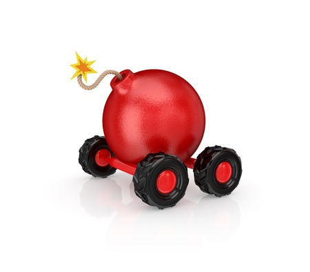 munition: Cartoon bomb on wheels.Isolated on white background.3d rendered. Stock Photo