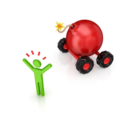 Cartoon bomb on wheels.Isolated on white background.3d rendered. Stock Photo - 12220169