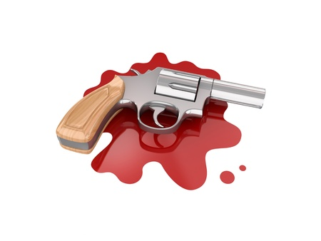 Chromed revolver on a bloody stain.Isolated on white background.3d rendered. photo