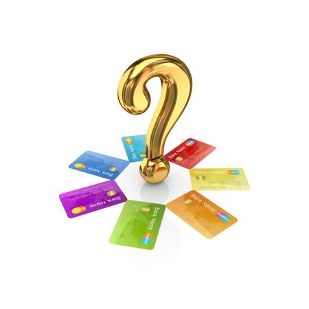 Colorful credit cards around golden query sign.Isolated on white background.3d rendered. photo
