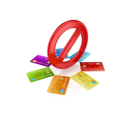 Colorful credit cards around red stop symbol.Isolated on white background.3d rendered. photo