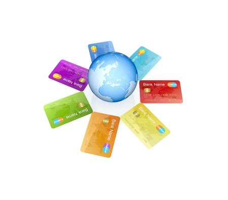 Colorful credit cards around the globe.Isolated on white background.3d rendered. photo