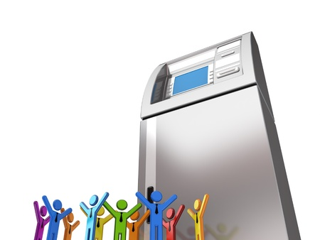 Huge ATM and colorful 3d small people.Isolated on white.3d rendered. Stock Photo - 12222859