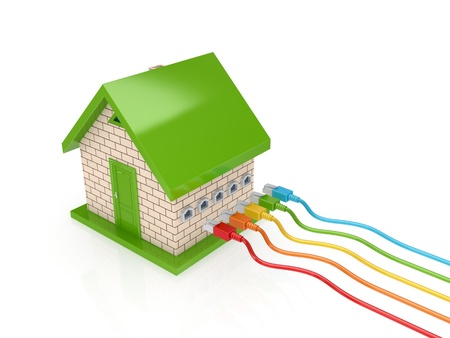 Colorful patch cords and small house.Isolated on white background.3d rendered. photo