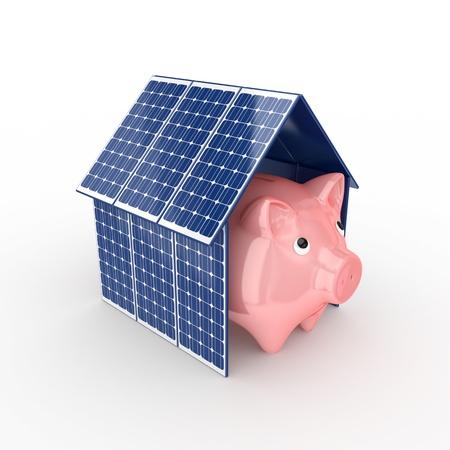 ahorro energia: La energía solar concept.Isolated en blanco background.3d prestados.