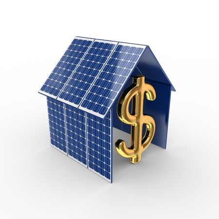 Solar energy concept. Isolated on white background.3d rendered.