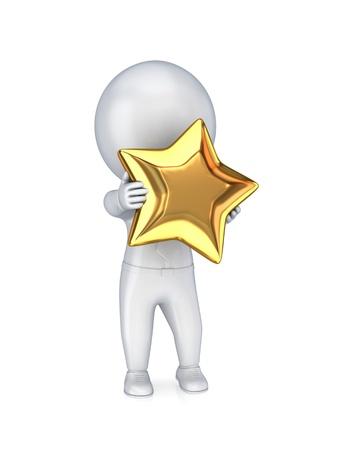 triunfador: 3 � persona peque�a con una estrella de oro en un hands.Isolated sobre fondo blanco. Foto de archivo