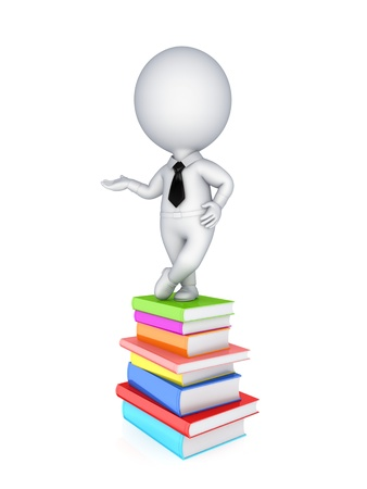 3d small person and colorful books.Isolated on white background. Stock Photo
