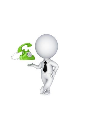 cable telefono: 3 ª persona pequeña y de la vendimia telephone.Isolated sobre fondo blanco.