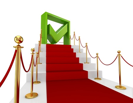 Green tick mark on a red staircase.Isolated on white background.3d rendered. Stock Photo - 12220630