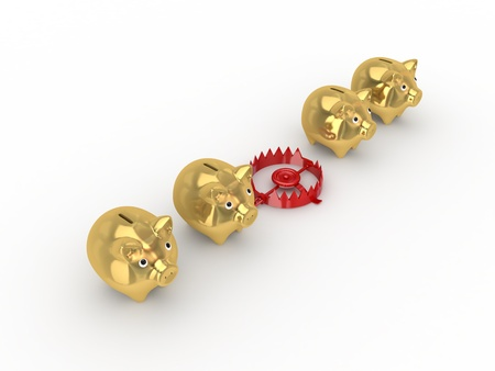 Red trap between golden piggy banks.Isolated on white background.3d rendered. Stock Photo - 12222802