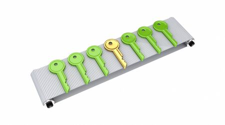 Colorful keys on grey conveyor.Isolated on white background.3d rendered. photo