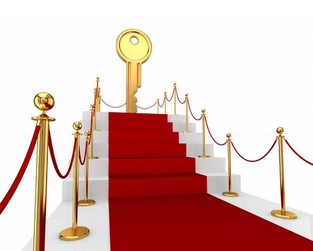 exclusivity: Red carpet on a stairs and golden key above. Isolated on white background.3d rendered.
