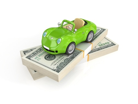Small green car and dollar packs.Isolated on white background.3d rendered. photo