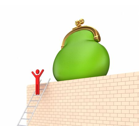 pay wall: Green purse on a wall.Isolated on white background.3d rendered.
