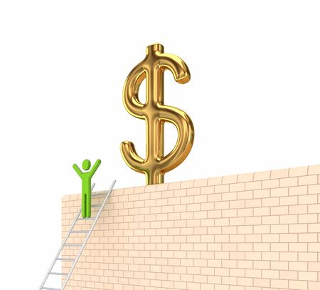 pay wall: Dollar sign on a wall.Isolated on white background.3d rendered. Stock Photo