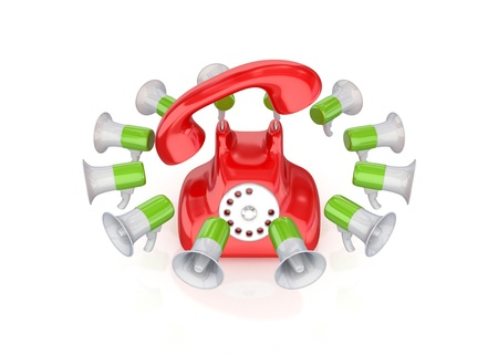 Colorful megaphones around retro telephone.Isolated on white background.3d rendered. photo