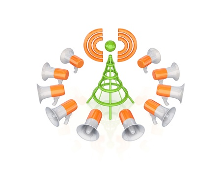 Orange megaphones around green antenna symbol.Isolated on white background.3d rendered. Stock Photo - 12222549